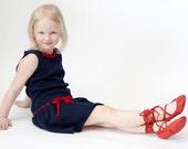 Sale Toddler girls dresses knit dark blue cotton dress, eco friendly