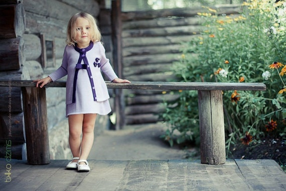 CUSTOM LISTING - knitted sleeveless dress and cardigan with flowers in lilac for 2 and 4 years old girl