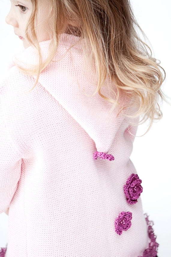 Children summer hoodie. Pink hoodie for little baby girl with lace ruffles and flowers- READY TO SHIP - 1 -2 year