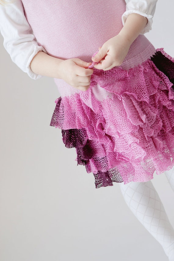Knitted ruffle dress in pink and violet color for 3t-4t year old toddler girl - READY TO SHIP