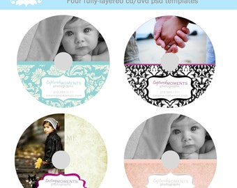 INSTANT DOWNLOAD Damask Set of Four CD Labels Photography Template Photoshop