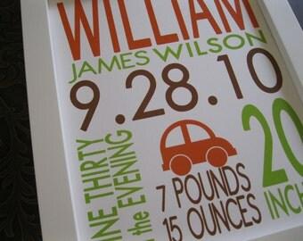 Transportation Birth Print, Car, Automobile Wall Art, Kids wall art, Birth Print Announcement, Birth Stats, Baby Boy, William