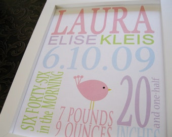 Nursery Decor, Personalized Birth Announcement Print Baby Girl BIRD 8 x 10 LAURA