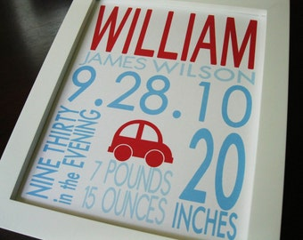 Birth Print Baby Boy Nursery Wall Art CAR 8 x 10 WILLIAM