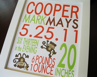 Nursery Wall Art, Childrens Room Decor, Personalized Baby Birth Announcement Print, Monkey, 8 x 10 COOPER