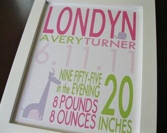 Nursery Decor, Wall Art, Birth Announcement Print, Baby Girl, Giraffe Elephant 8 x 10 LONDYN