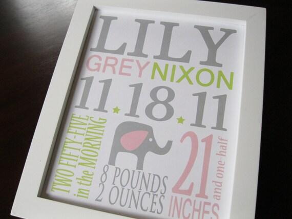 Children wall art, Nursery decor, Nursery art print, Birth Print, Elephant, Baby girl, LILY