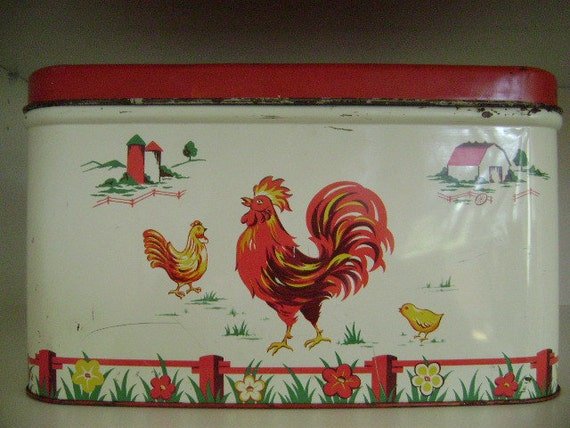 Metal Breadbox  RED & WHITE  vintage kitchen