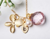 Personalized initial necklace,Gold Orchid leaf initial and birthstone,customize,bridesmaid gifts,wedding jewelry,bridal jewelry
