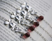 set of 4,Monogram Bracelet,Orchid flower,leaf initial,Personalized,Flower girl gift,Bridesmaids,Bridal Wedding Jewelry,initial & birthstone