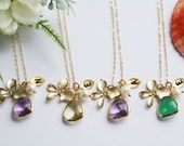 Set of 9,Bridesmaid Gifts,Orchid Flower Gold Fill Necklace,Stone in Bezel,Monogram Necklace,Leaf initial,Flower Girl,Flower Jewelry