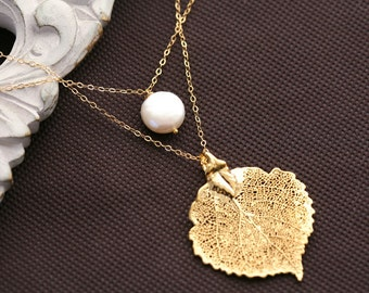 Double layer necklace,Coin pearl necklace,Real aspen leaf charm,Custom birthstone,birthday gift,bridesmaid gifts,fall autumn wedding jewelry