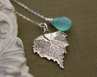 Real Leaf Necklace,personalized charm necklace,silver birch leaf,Custom birthstone Lariat,Bridesmaid Gift,Fall Wedding gift,Mother jewelry