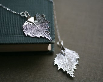 Birch leaf lariat necklace,Real leaf necklace,mother jewelry,birthday,wedding jewelry,bridesmaid gifts,anniversary gift,nature charm jewelry