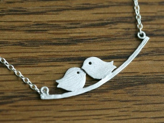 Lovely Bird Silver Tweeting on a Branch Necklace