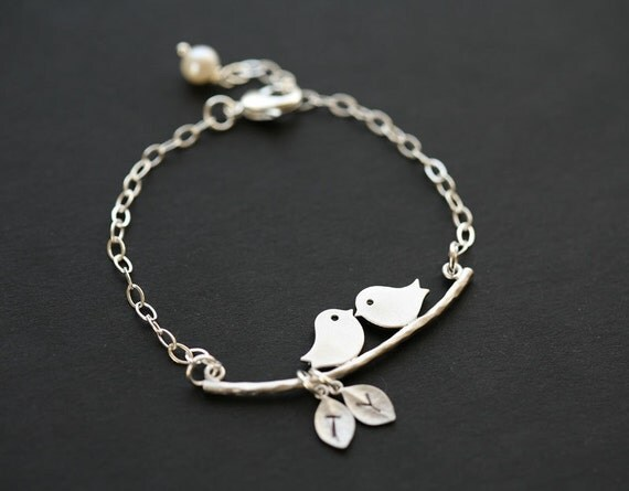 Initial Bracelet,Bird on the branch,Leaf initial,Bridesmaid gifts,Wedding Jewelry,Friendship,Birthday,Anniversary