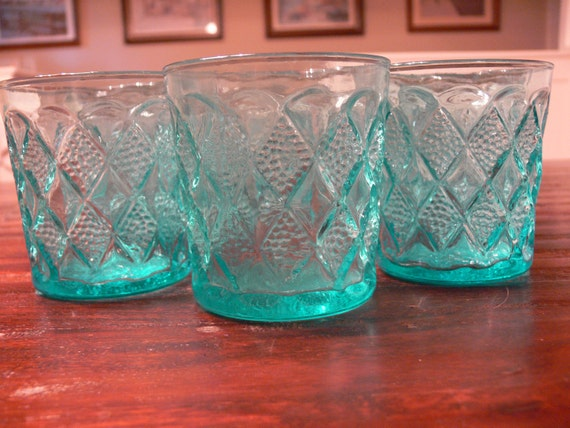 Set of 7 Turquoise glasses