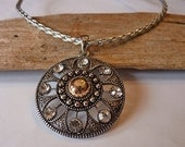 Silver & Gold Round Pendant Necklace w/Crystals