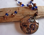Copper & Blue Swirled Glass Pendant Necklace Set