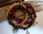 Wooden Beads Stackable Bracelets-Red,Beige, Brown & Silver