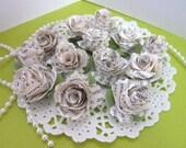 Handmade book paper roses, set of 12