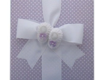 Tight Bound Baby Memory Book - Lavender Polka Dot with Crochet Booties