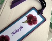 Personalized Bookmark With Pressed Flower Custom Laser Printed Your Choice of Colors and Flowers Two Flowers