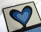 Valentine Card Love Card Masculine Handmade Blue and Black Pin Striped Heart Note Card Blank Inside