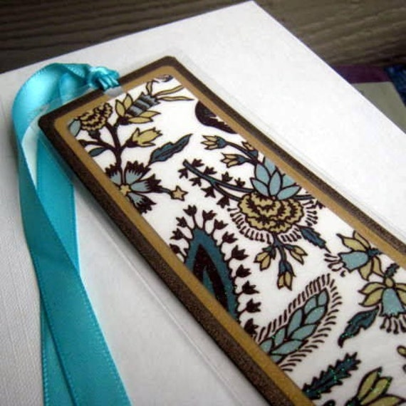 Floral Laminated Bookmark Teal/Aqua and Brown