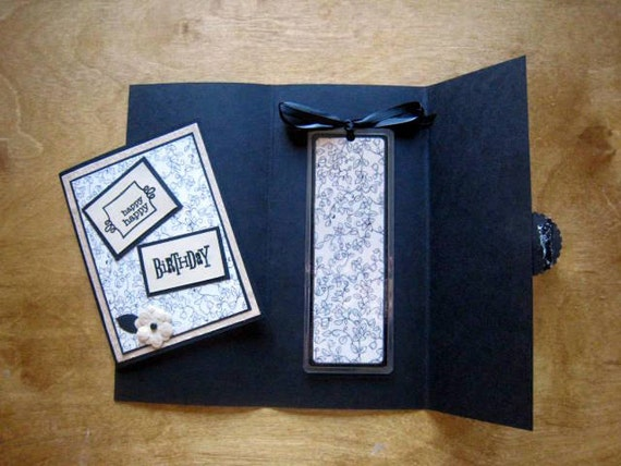 Bookmark and Birthday Card Creme and Black Floral With Gift Envelope Gift Pack