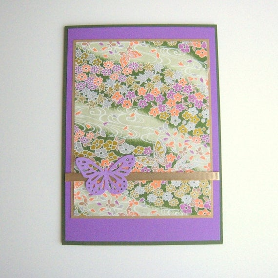 Purple and Green Spring Floral Washi Paper Birthday Card Any Occasion Card  Blank Inside- Customize You Choose Sentiment on Front