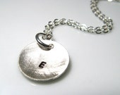 Initial Pod. Circle. 16 inch Necklace. Sterling Silver. MADE TO ORDER.