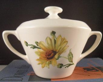 Vintage Sugar Bowl - Yellow Daisy Covered Sugar Bowl USA pottery