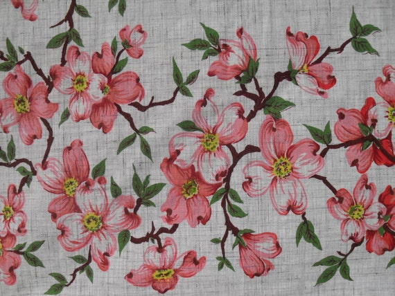 vintage tablecloth grey with pink dogwood flowers