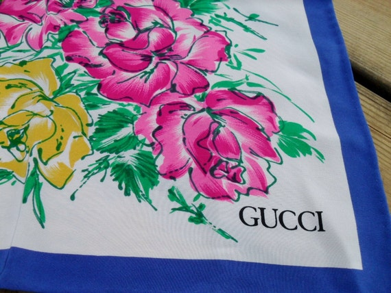 vintage Gucci Silk Scarf - Roses
