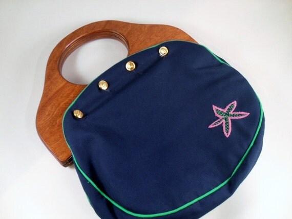 vintage handbag - Bermuda Bag - JG Hook - with 2 button on covers - Jeanne Bouchever