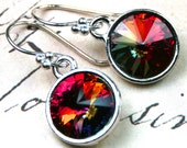 Rare Swarovski  Rivoli Crystal Earrings in Crystal Cathedral - Rainbow - Handmade with Swarovski Crystal and Sterling Silver- FREE SHIPPING