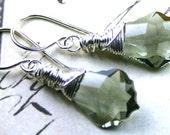 Black Diamond Swarovski Baroque Crystal Earrings - Swarovski Crystal Wire Wrapped with Sterling Silver