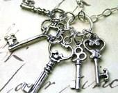 The Vintage Skeleton Key Cluster Charm Necklace - Five Key Pendant - All Sterling Silver
