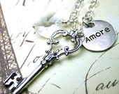 Amore is the Key to Life Necklace - Reversible Pendant - Vintage Key Pendant - Sterling Silver and Swarovski Crystal