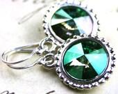 Unique Swarovski Rivoli Crystal Earrings In Crystal Verde - Green - Handmade with Swarovski Crystal - FREE SHIPPING