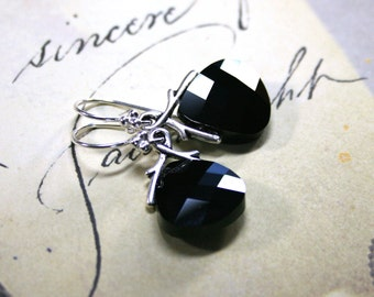 Swarovski Briolette Crystal Earrings in Jet Black and Silver - Handmade with Swarovski Crystal and Sterling Silver