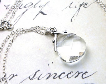 Clear Crystal Necklace - Swarovski Crystal Briolette Pendant - Bridal Necklace - Sterling Silver and Swarovski Crystal