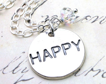 The Happy Charm Necklace - Sterling Silver Coin Pendant and Swarovski Crystal - All Sterling Silver