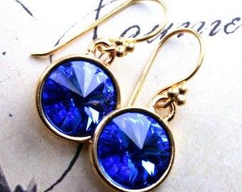 Sapphire Earrings - Swarovski Crystal Rivoli Earrings In Sapphire Blue and Gold - 14k Gold Vermeil Earwires