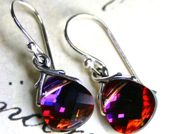 Swarovski Crystal Briolette Earrings in Rose Volcano - Handmade with Sterling Silver And Swarovski Crystal - Purple, Orange, And Pink