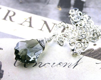 Baroque Crystal Necklace in Black Diamond - Wire Wrapped - Handmade with Sterling Silver and Swarovski Crystal