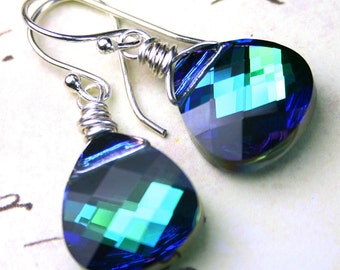 Wire Wrapped Briolette Crystal Earrings in Aqua Sphinx - Handmade with Sterling Silver and Swarovski Crystal