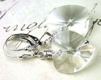 Crystallized Heart Earrings - Handmade with Swarovski Crystal and Sterling Silver