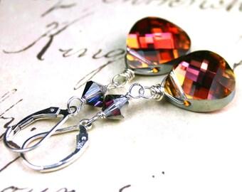 ON SALE - Long Swarovski Briolette Crystal Earrings in Rose Volcano - OOAK - Wire Wrapped Swarovski Crystal and Sterling Silver Leverbacks